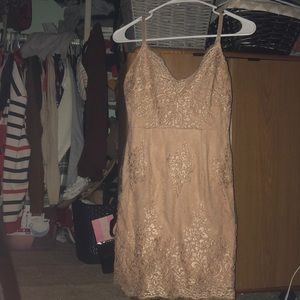 Formal Pink/Champagne Floral Detailed Dress
